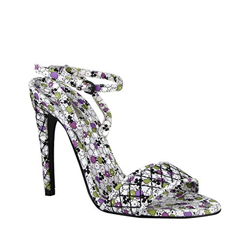 Bottega Veneta Women's Green/Purple Floral Leather Ankle Strap Heels 430539 8404 (37.5 EU / 7.5 US)