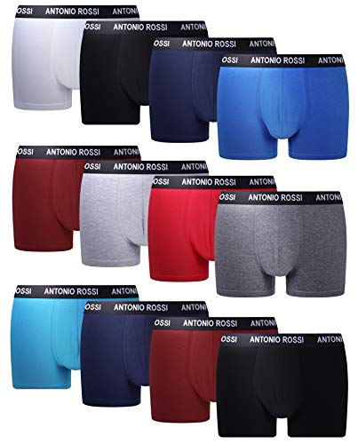 FM London Herren Fitted Boxer Hipster, Mehrfarbig (Hell), Large (12er Pack)