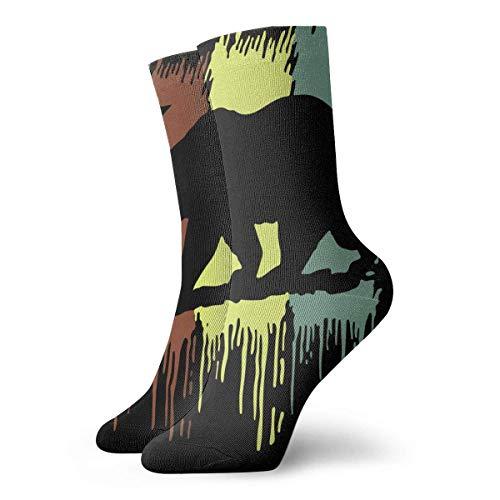 Cali California Republic State Bear Rasta - Calcetines largos (30 cm, algodón), diseño de oso atlético