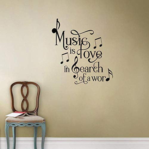 Wall Sticker Music Is Love In Search Of A Word Art Decor PVC Wall Sticker 52x56.1cm