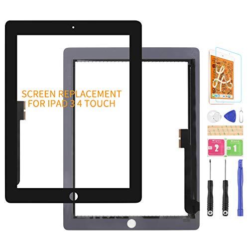 Pantalla táctil de repuesto para iPad 3/4, digitalizador de pantalla táctil, para A1416, A1403, A1430, A1458, A1459, A1460, kit de piezas de reparación de panel táctil (negro)