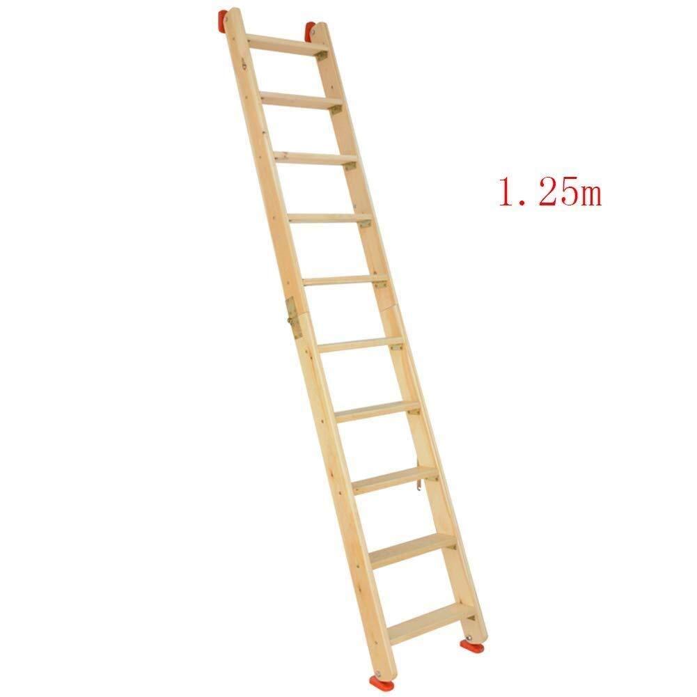 JJJJD Escala de Madera, Escalera Plegable, del Lado del Doble Loft Escaleras, Multi-función de Hogares Recta Escalera Escalera Portátil Escalada al Aire Libre (Size : 1.25m): Amazon.es: Hogar