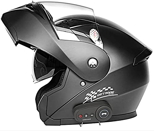 Cascos Bluetooth para Motocicleta,Casco para Motocicleta con Intercomunicador Bluetooth Abatible Cara Completa,Casco Modular con Visores Dobles, Estándar Dot/ECE(Color:2;Size:L)