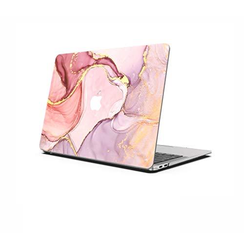 AOGGY Coque MacBook Pro 13 Pouces 2020 Version A2338 M1/A2289/A2251, Marbre Coloré Pattern Plastique Coque Rigide pour Newest MacBook Pro 13 Pouces avec Touch Bar et Touch ID - Flow Gold 2