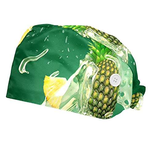 Pineapple Juice Splash Green Background Printed Working Cap with Button, Cotton Working Hat Sweatband, Elastic Bandage Tie Back Hats for Women & Men, One Size,2 Packs