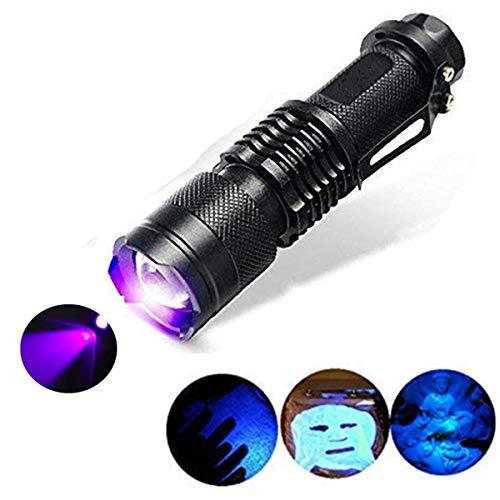 Torcia con torcia UV, One Mode 300LM Zoomable 396nm UV-Ultravioletto LED Blacklight per il rilevamento di macchie di cani da compagnia Controllo del denaro del passaporto, cosmetici e altro