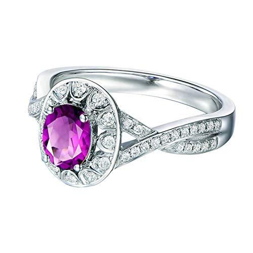 Bishilin Anillo de Compromiso de Plata de Ley 925 para el Ella Clásico Moderno Forma Oval Púrpura Oval Moda Cristal Anillos de Compromiso Llamativos para Mujer con Bolsa de Joyeríaplata Talla: 13,5