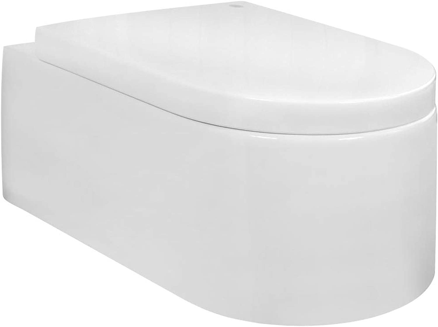 Wall Hung Mounted Toilet Pan Without Rim with Soft Close Seat Toilet Lid Bathroom WC Rectangular Sanlingo