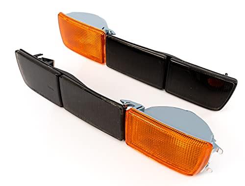 Front- Blinker Orange Blinkleuchten + lange Blenden Schwarz Set Links+Rechts Eintragungsfrei