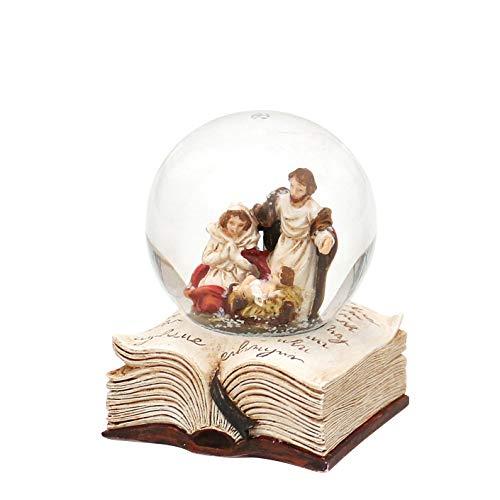 Dekohelden24 Schneekugel mit Heilige Familie auf Buch, Maße H/B/Ø Kugel: ca. 6,5 x 5 cm/Ø 4,5 cm.