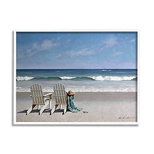 Stupell Industries Two Adirondack Chairs on The Beach, Design by Zhen-Huan Lu Wandbild, gerahmt, 28 x 35 cm, Blau