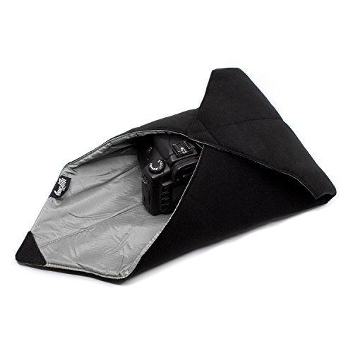 Amolith® Einschlagtuch (gepolsterte Schutzhülle) für Kameras, Fotoausrüstung und vieles mehr – Schwarz (50 x 50 cm) | AML-8537