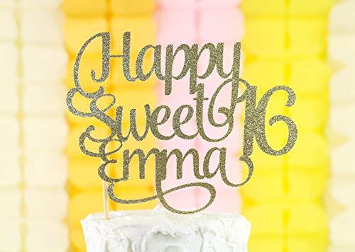 Gepersonaliseerde Happy Sweet 16 Taart Topper, Zoete 16 Verjaardag Decor, Zoete Zestien Taart Topper, 16 Taart Topper, Aangepaste Naam Topper