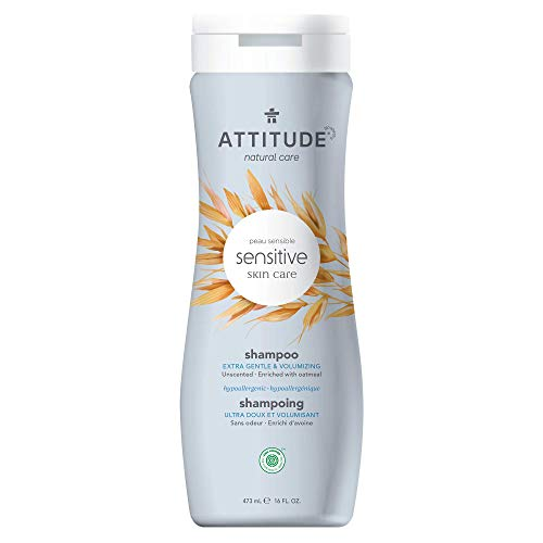 ATTITUDE Shampoo for Sensitive Skin, Extra Gentle and Volumizing Unscented Shampoo, Enriched with Soothing Oatmeal for Sensitive Scalp, EWG Verified, Fragrance Free, 16 fl. oz. (Package May Vary)