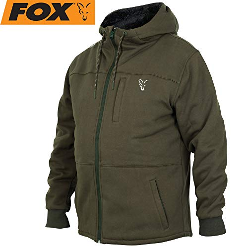 Fox Collection Green / Silver Sherpa Hoody -Pullover mit Kapuze, Größe:L