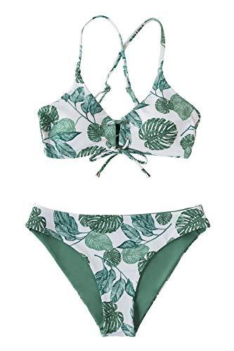 CUPSHE Conjuntno de Bikini Reversible Atado Floral Rayas Traje de Baño de Dos Piezas, XS