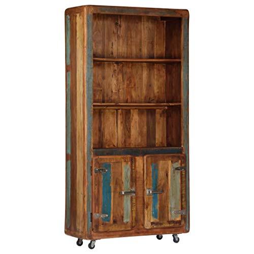 Festnight Vitrinenschrank | Retro Highboard | Vintage Kommode | Beistellschrank | Holz Schubkastenkommode | mit 2 Türen und 2 Regalen | Recyceltes Massivholz 90 x 35 x 183 cm