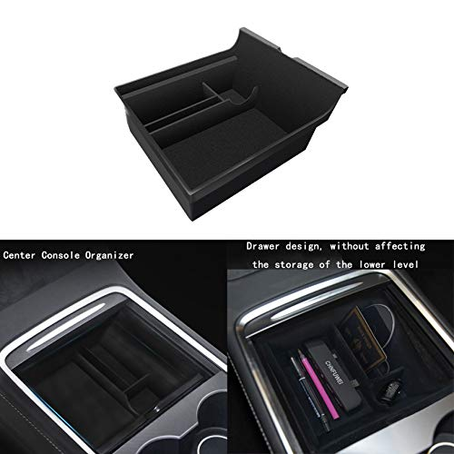 CHNFUWEI Center Console Organizer Compatible with 2021 Tesla Model 3/Y Flocking Hidden Storage Box...