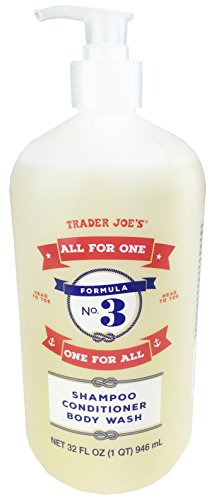 """Trader Joe's Formula No.3 """"All for One, One for All"""" Shampoo Conditioner & Body Wash 32 fl oz (1 bottle)"""