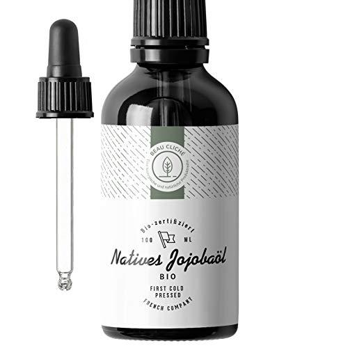 100ml BIO Jojobaöl, Kaltgepresst, Rein - 100% Natürliche Pflege für Haut, Haare, Gesicht, Bart - Glasflasche - Abgefüllt in Frankreich