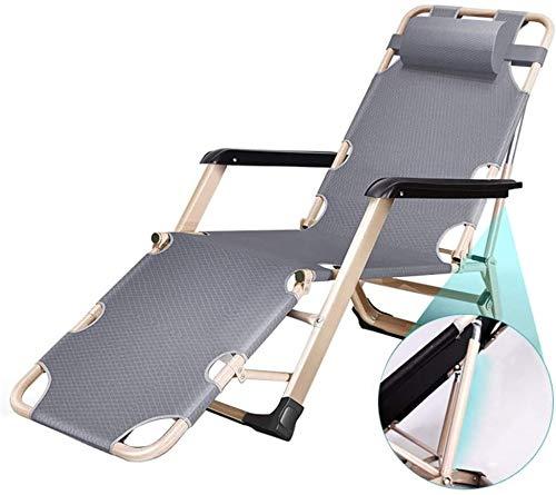 WANGCAI Sillas reclinables Plegable al Aire Libre Salón Silla Ajustable Soporte del Eje y Patas cuadradas de Tubo, Gris, 440lbs de Apoyo