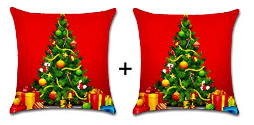2 kussenslopen, rood, X-Mas, 42 cm x 42 cm katoen linnen Kerstmis, Advent, decoratieve sofa bed Home Decor kussenhoes, sierkussen, Pillowcase