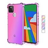 ZUERCONG Schutzhülle für Google Pixel 4A 5G, bunte Farbverlauf, transparent (nicht für Pixel 4A 4G), schmale, weiche TPU-Viereck-Airbag-Hülle, stoßfest, kratzfest, Pink + Violett