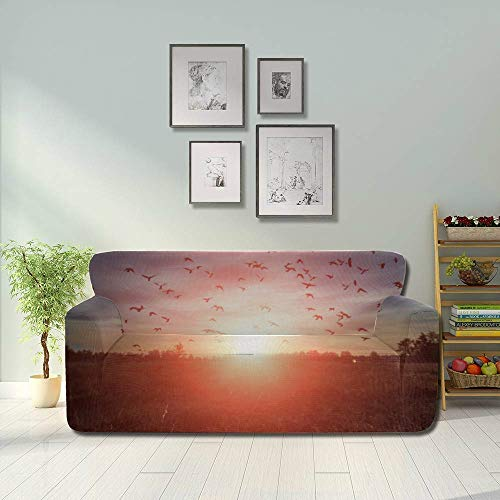 Zemivs Gorgeous Sunrise Red Morning Simple Sofa Cover Stretch Cushion Slipcover Fitted Furniture Protector 2&3 Seat Sofas