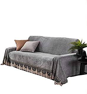 JYPHM Plush Sofa Slipcover Vintage lace Suede Couch Cover Anti-Slip Solid Color Sofa Cover Anti-Dust Stain-Proof Furniture Protector for Pet Dog & Kids 4 Seaters Grey 200x350cm(79x138inch)
