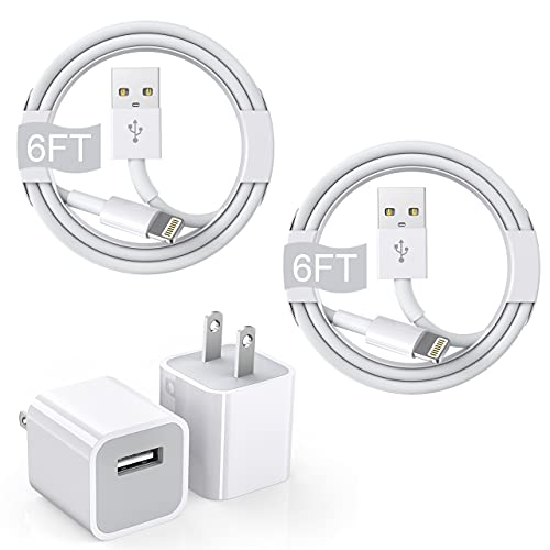 iPhone Charger Cube, 6FT 2Pack [Apple MFi Certified] Rapid Lightning Cable Cord with 2 Pack iPhone Quick Charging Box USB Wall Adapter for iPhone 6/7/8 Plus/12/11/11 Pro/Pro Max/SE 2020/Xs/XR/X