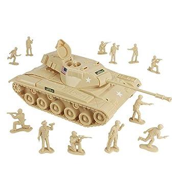 TimMee Toy Walker Bulldog Tank Playset- Desert Tan 13pc - Made in USA