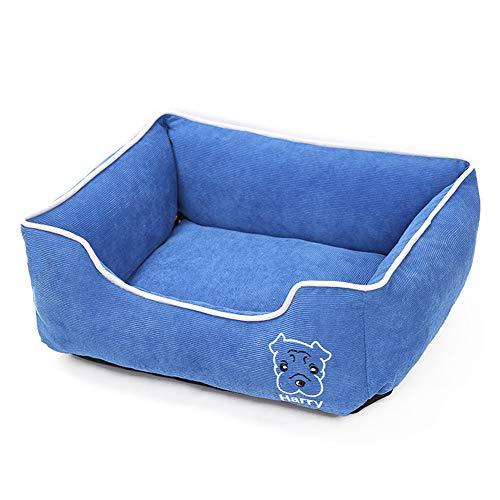Hondenbed voor honden, katten, dieren, matras, bed, overtrek van stof en kussens, ademend, verlicht stress soft, skyblue, L