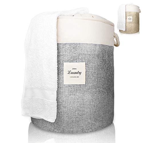 COLTELLINO moderner Wäschekorb [2019] – Wäschesammler groß mit 70 liter - raumspar Wäschebox faltbar zum Sortieren von Schmutzwäsche - Wäschesack rund modern für Kinderzimmer und Bad - grau