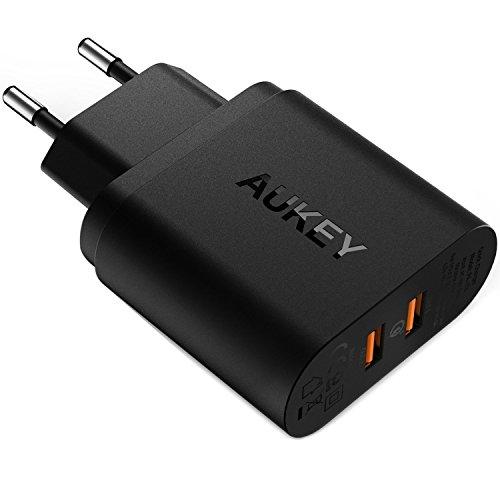 AUKEY Quick Charge 3.0 Caricabatterie USB da Muro 39W Due Porte Caricatore USB per Samsung Galaxy S8 / S8+/ Note 8, iPhone XS/XS Max/XR, HTC 10, LG G5