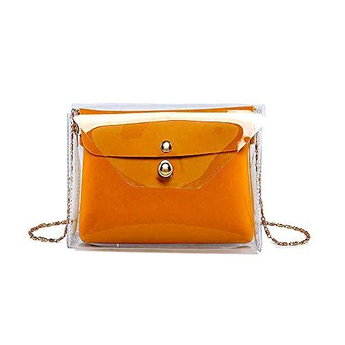 Bolso Transparente Bolso Bandolera Monedero Transparente Bolso de Hombro con Cadena para Mujer Bolso de Mano Clutch con Cadena Satchel Shoulder Bag Transparente (Amarillo mostaza)