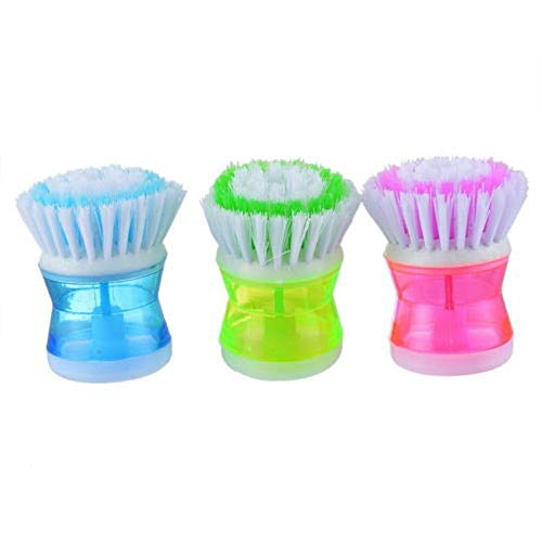 KOKOUK Kitchen Washing Utensils Pot Dish Brush with Washing Up Liquid Soap Dispenser Plactsic Design Dishwashing Brush