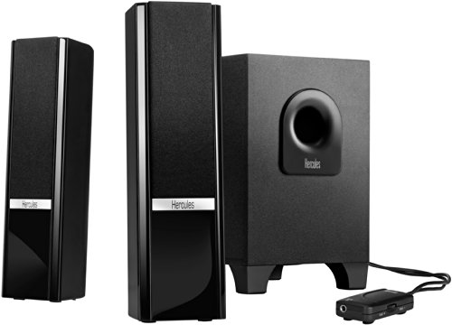 Hercules 2.1 Gloss (2.1 Lautsprecher, 16 W, Lautstärkeregler, Tischfernbedienung, AUX-Eingang)