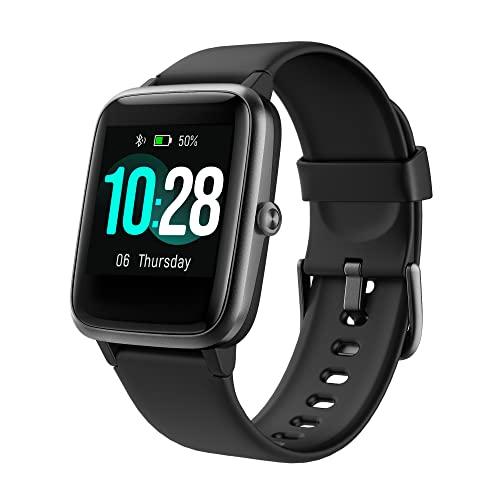 Smartwatch, 1.3 Zoll Touch-Farbdisplay Fitnessuhr, Fitness Tracker mit Schrittzähler, Pulsuhr, Schlafmonitor, Musiksteuerung, 10 Tagen Akkulaufzeit, GPS, 5TAM Wasserdicht, für Damen Herren Schwarz
