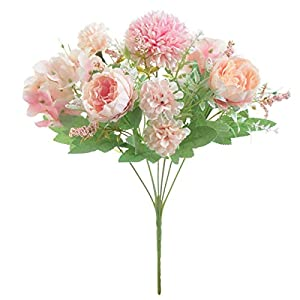 Artificial Flowers,Silk Hydrangea Bouquet Fake Peony Décor Plastic Carnations Realistic Flower Arrangements Wedding Decoration Table Centerpieces