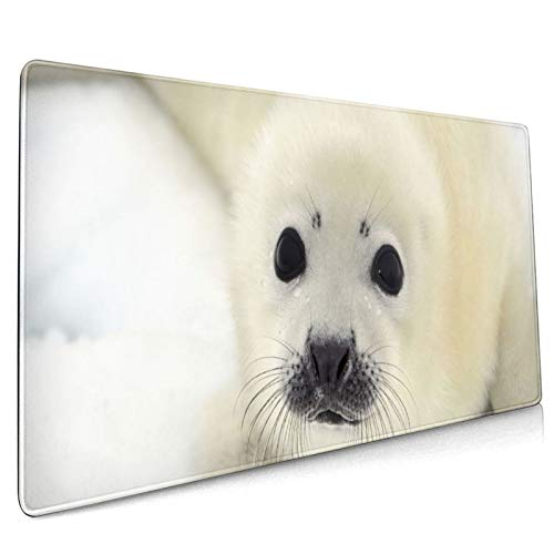 Mouse Pad Large Gaming Mouse Pad White Baby Seal Pup Computer Keyboard Mouse Pad Non-Slip Mouse Pad Office -35.4x15.7x0.12 Inch