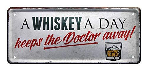 Blechschilder A Whiskey a Day Keeps The Doctor Away - Deko Schild Kneipe, Bar, Pub - Metallschild für Whiskey Genießer - Geschenk Whisky Set - schottischer, amerikanischer, irischer Whisky - 28x12cm