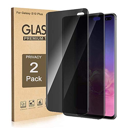 Galaxy S10 Plus Privacy Screen Protector, ZAOX [Anti-Spy] [Case Friendly] [Full Coverage] [3D Touch Compatible] Premium Tempered Glass Screen Protector for Samsung Galaxy S10 Plus 2019 (2 Pack)