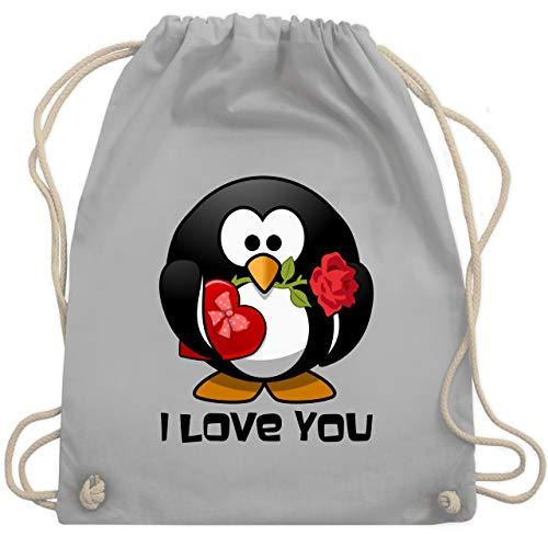 Shirtracer Tiermotive Kind - Pinguin Rose Pralinen Geschenk - Unisize - Hellgrau - pinguin - WM110 - Turnbeutel und Stoffbeutel aus Baumwolle