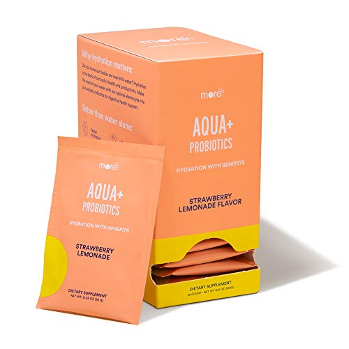 Aqua+ Probiotics by More Labs: ORS Electrolyte Hydration Mix - Digestive Health and Nutrient Metabolism - Strawberry Lemonade Flavor - Non GMO - No Artificial Flavors (30-Pack)