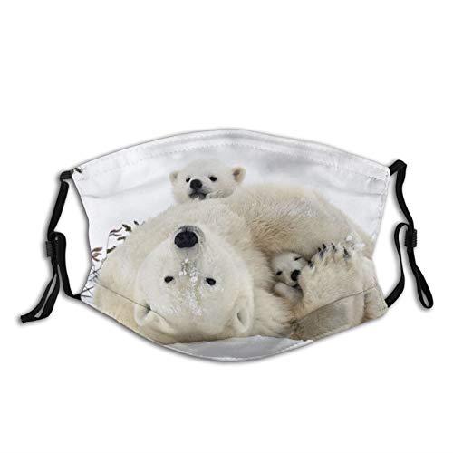 Polar Bear With Cubs Print Face Mask-Adjustable Ear Loops|Reusable-With Filter Pocket-Unisex Gifts For Men&Women Balaclava Bandana Cloth