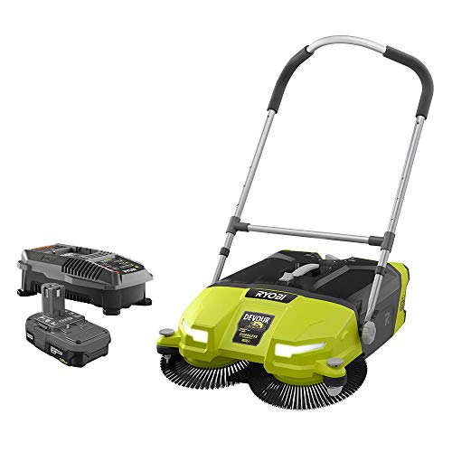 RYOBI 18-Volt ONE+ Lithium-Ion Cordless 4.5 Gal. DEVOUR Debris Sweeper Kit with (1) 1.5 Ah Battery and 18-Volt Charger
