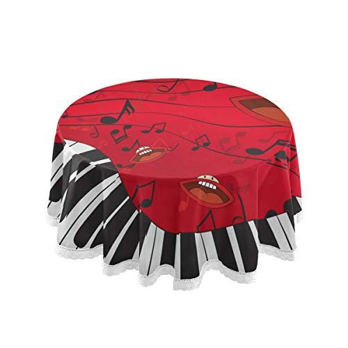 Bardic FELIZM Mantel redondo Arte Piano Teclado Música Nota Mantel Mesa de comedor Cubierta de Encaje 60x60 pulgadas para el hogar, fiesta, cocina, decoración navideña