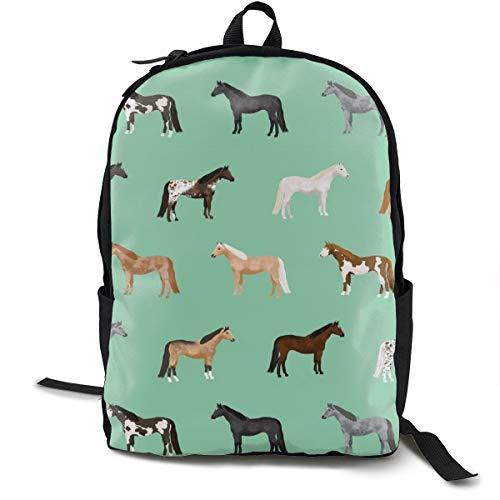 Klassischer Rucksack, Pferdemäntel, Pferderassen, Pferde, grün, lässig, Schultasche, große Kapazität, Laptop-Tasche für Teenager, Damen, Herren, Reisen, Wandern