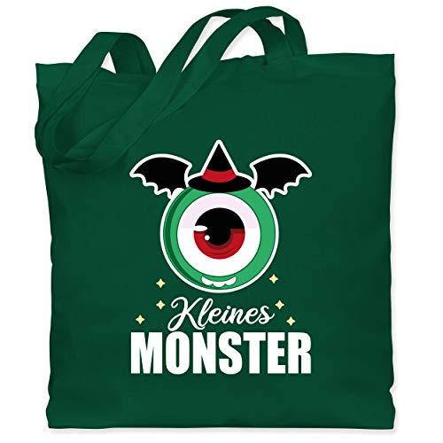Shirtracer Halloween Kind - Kleines Monster - weiß - Unisize - Dunkelgrün - Geschenk - WM101 - Stoffbeutel aus Baumwolle Jutebeutel lange Henkel