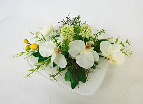 Blumengesteck Orchideengesteck Tischgesteck Tischdeko Orchidee Kunstblume Dekoblume künstlich Kunst Blume unecht 20 x 20 cm weiß 121